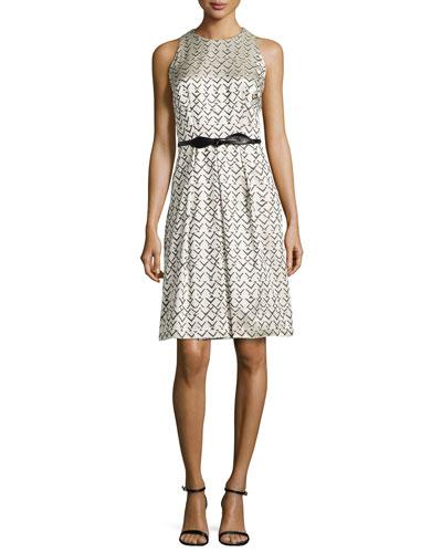 Geo-Jacquard Sleeveless Dress