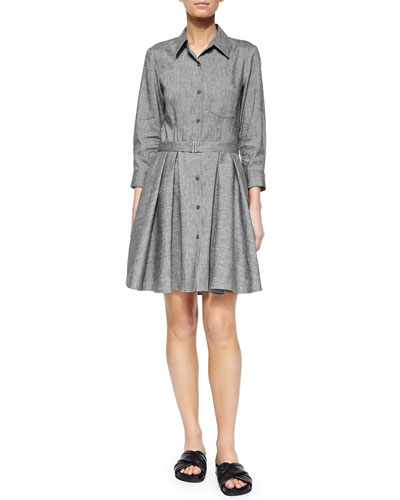 Jalyis Sharkskin Crunch Shirtdress, Black/Ivory