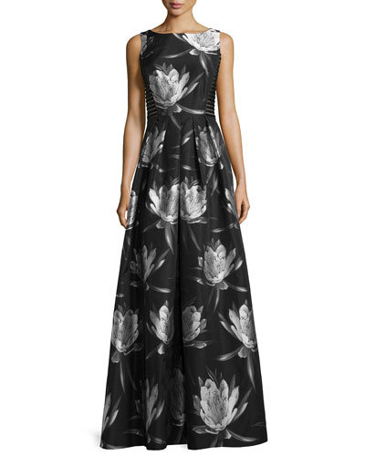 Floral-Brocade Lace-Inset Sleeveless Dress