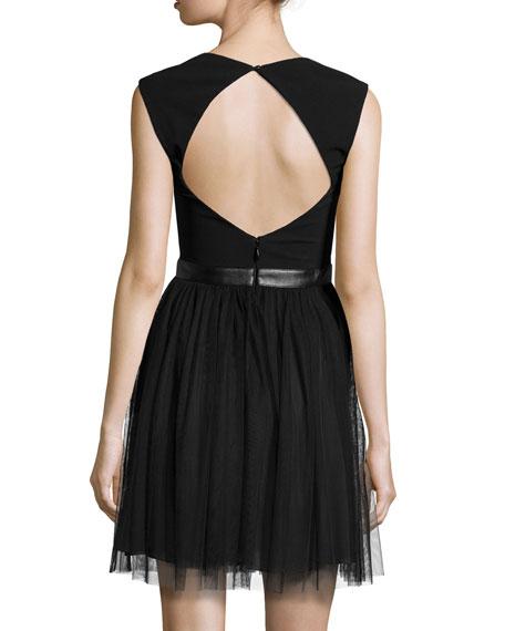 Sleeveless Combo Dress w/Cutouts, Black