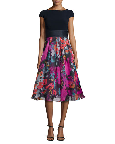 Cap-Sleeve Knit/Floral Combo Cocktail Dress