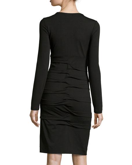 Long-Sleeve Tidal-Pleated Dress, Black