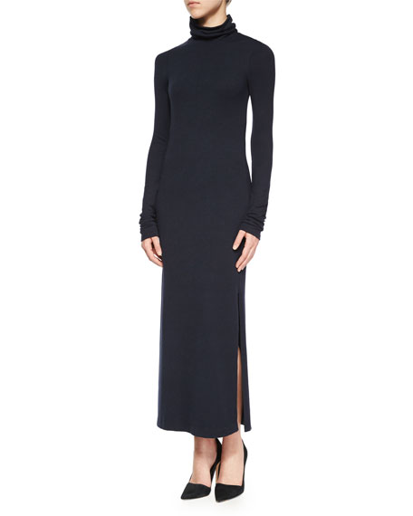 Alice + Olivia Long-Sleeve Double-Slit Turtleneck Dress, Navy