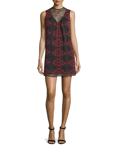 Lotus Flower Printed Sleeveless Dress
