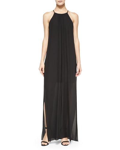 Adley Chiffon Maxi Dress, Black