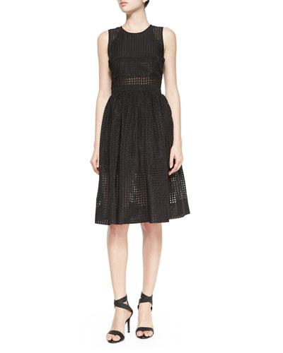 Sleeveless Heidi Eyelet Dress, Black