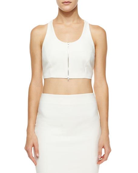 Elizabeth and James Harlow Cropped Zip-Front Top, White