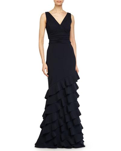 Dorina Sleeveless Ruffled Gown