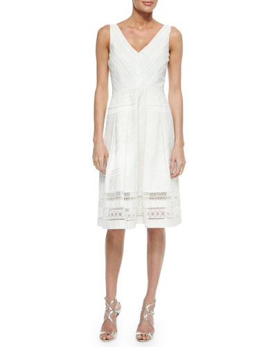 Sleeveless Jacquard Lace A-line Dress