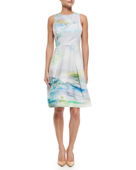 Sleeveless Watercolor-Print Cocktail Dress