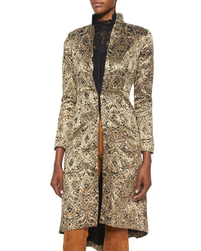 Vali Metallic Jacquard Coat