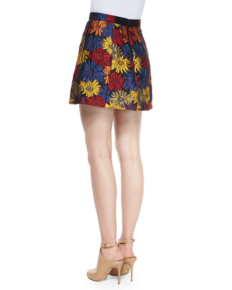 Loran Floral A-Line Skirt, Blue/Multicolor