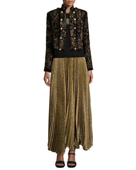 Alice + Olivia Katz Shimmery Pleated Maxi Skirt