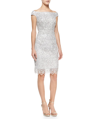 Cap-Sleeve Sequined Lace Sheath Cocktail Dress