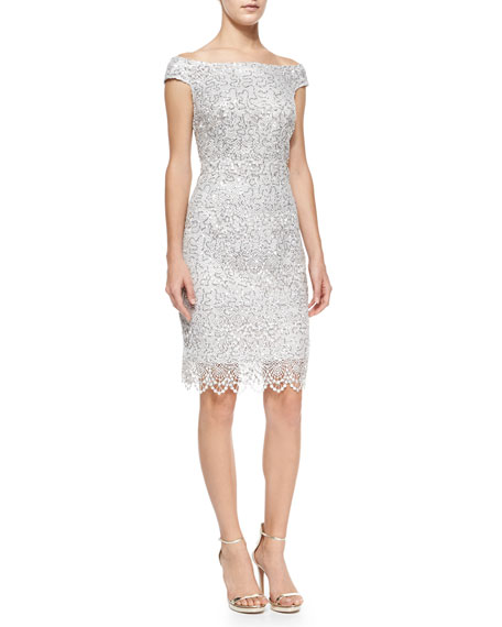 Phoebe Couture Cap-Sleeve Sequined Lace Sheath Cocktail Dress