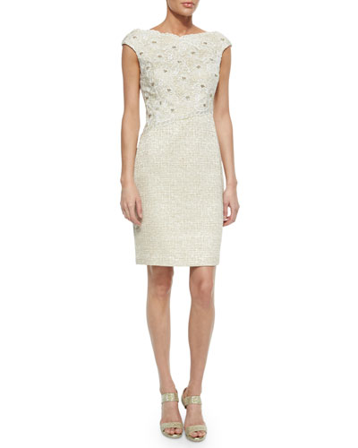 Cap-Sleeve Floral-Lace Tweed Sheath Dress