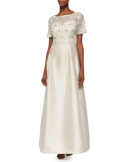 Kay Unger New York Short-Sleeve Lace Bodice A-line Ball Gown