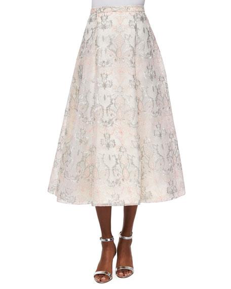 Organza Jacquard A-line Midi Skirt