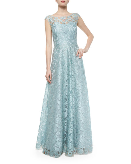 Lace Cap-Sleeve Gown, Teal