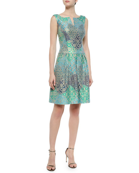 Kay Unger New York Floral Jacquard A-Line Cocktail