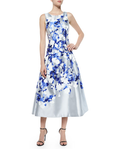 Satin Floral Tea-Length Cocktail Dress, Gray/Blue