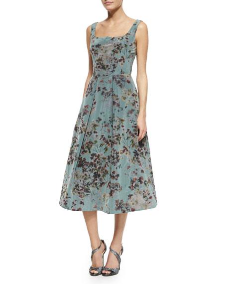 Floral Sleeveless Tea-Length Cocktail Dress, Multi