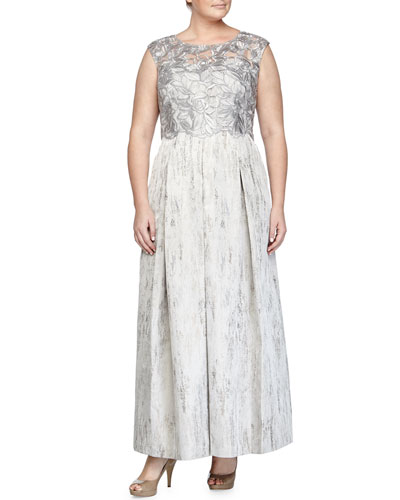 Cap-Sleeve Lace-Bodice Gown, Silver, Women