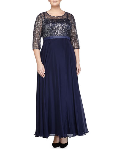Round-Neck 3/4-Sleeve Combo Gown, Navy, Women's