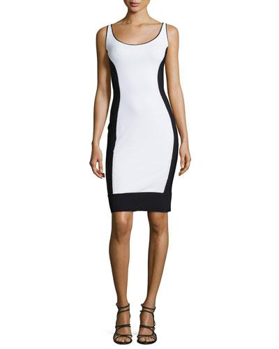 Mercy Sleeveless Colorblock Pique Sheath Dress