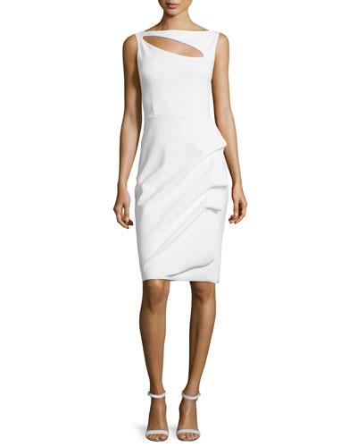 Angie Boat-Neck Keyhole Cocktail Dress, White