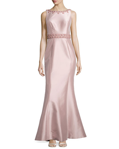 Embellished Sleeveless Mermaid Gown, Blush