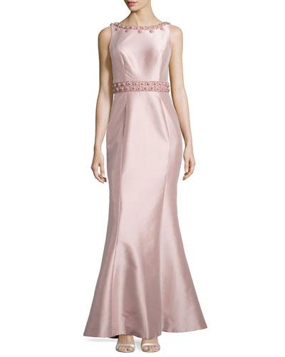 Embellished Sleeveless Mermaid Gown, Blush