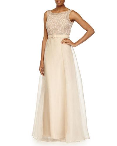 Sleeveless Beaded Organza Ball Gown W/ Belt