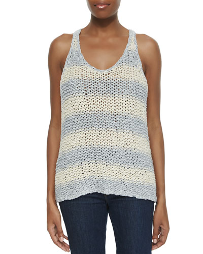Stars That Shine Striped Knit Tank, Gray/Ivory