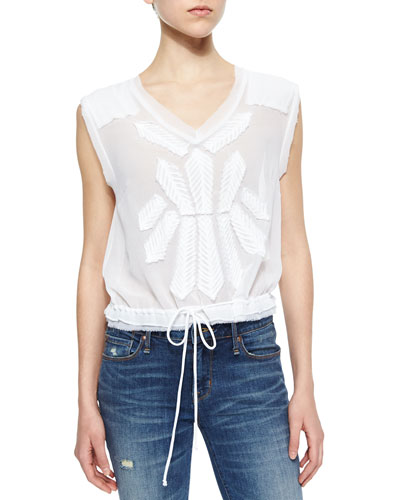 Pennies Story Teller Tee Mixed-Lace Top, White
