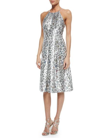 Phoebe Halter Floral Jacquard Fit & Flare Dress