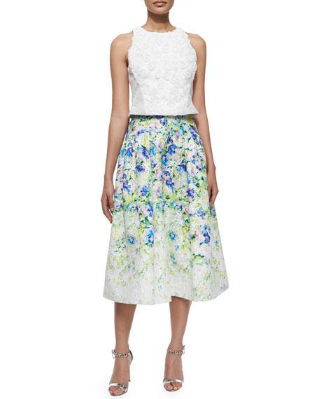 Floral-Print A-line Midi Skirt