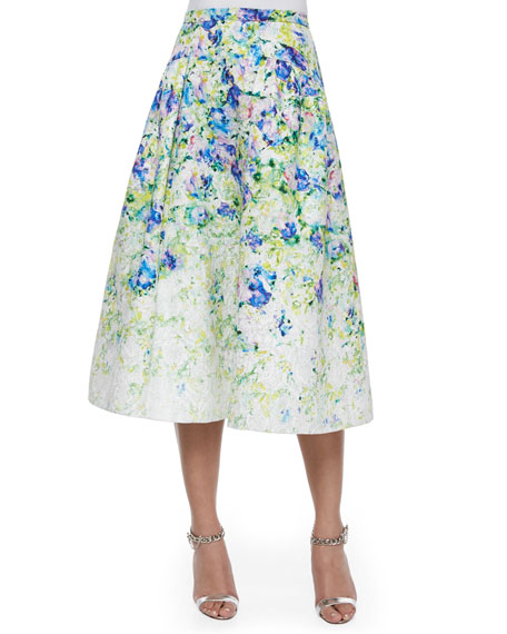 Phoebe Couture Floral-Print A-line Midi Skirt
