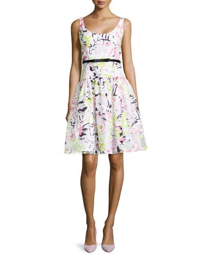 Sleeveless Scoop-Neck Printed Dress