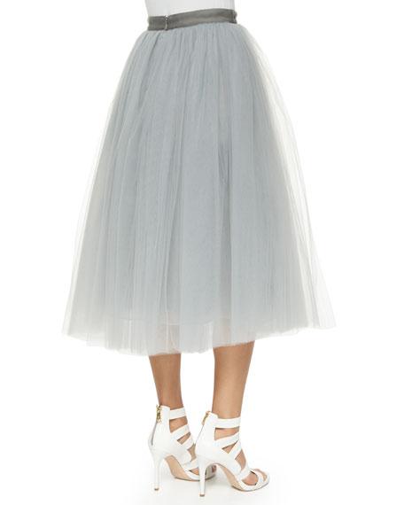 Everleigh Tulle Circle Skirt, Pale Gray