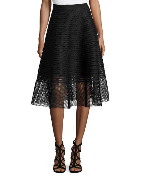 Sachin & Babi Noir Mesh Striped Midi Skirt