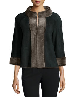 Nicolette Jacket W/Shearling Trim, Black Multi