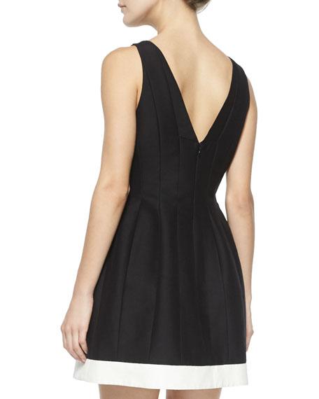 Seamed Structured Cocktail Dress w/ Contrast Hem, Black/Bone