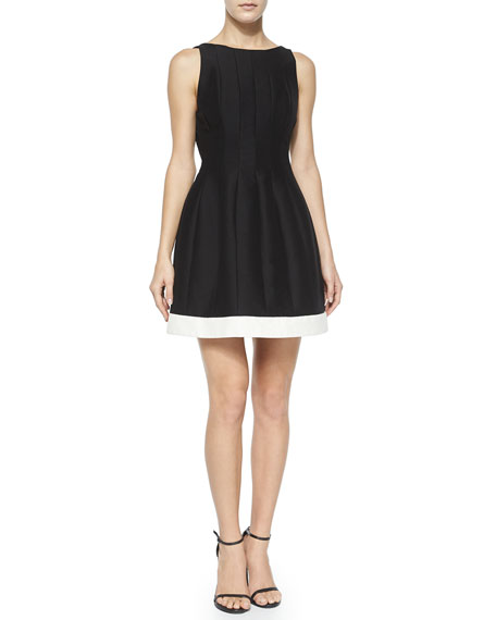 Halston Heritage Seamed Structured Cocktail Dress w/ Contrast