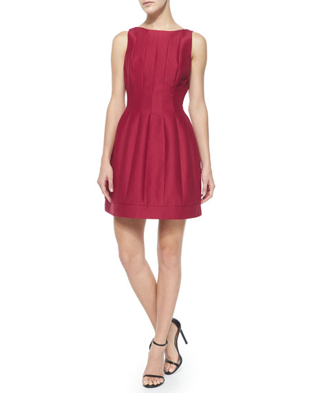Halston HeritageSeamed Structured Cocktail Dress, Garnet