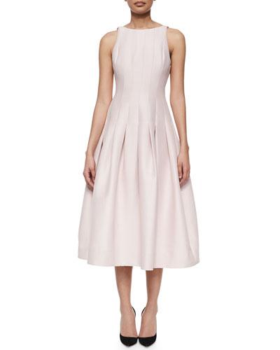 Pleated Tea-Length A-Line Dress, Barely Pink