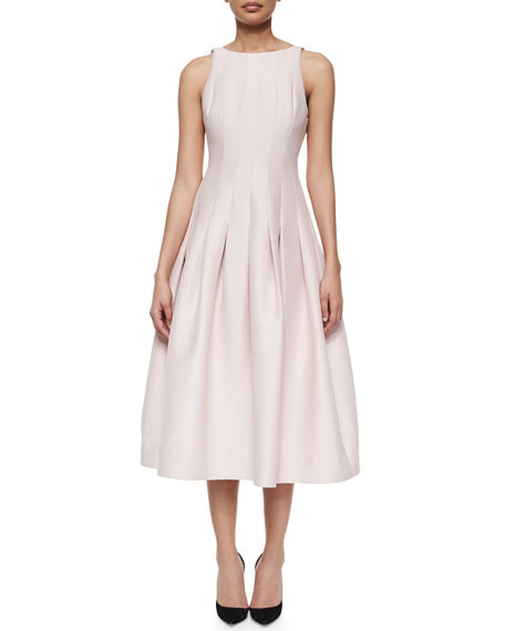 Pleated Tea-Length A-Line Dress, Barely Pink