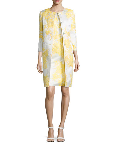 3/4-Sleeve Jacquard Jacket with Sheath Dress