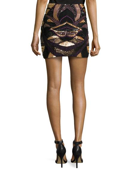 Beaded Mini Skirt, Black Multi