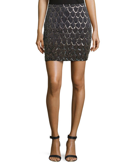 Scalloped-Beading Skirt, Black Multi